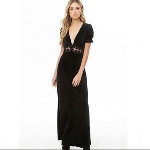 Velvet crochet waist maxi dress
